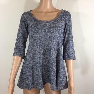 Deletta Anthropologie blue knit peplum blouse